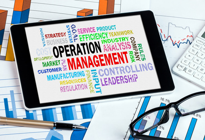 operation management word cloud on tablet pc
